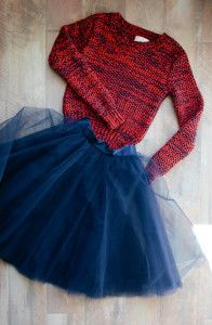 Denver Broncos Football Fashion Chunky Sweater Denver Street Boutique +  Navy Tulle Skirt Patterns and Pops