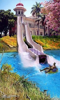 Water slide from house balcony