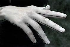 Finger And Hand Outline Tattoo For Men