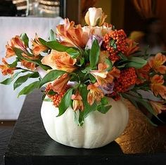 White Pumpkin Centerpiece with stunning fall flower arrangement! White Pumpkin Centerpiece with stun White Pumpkin Centerpieces, Pumpkin Vase, Thanksgiving Centerpieces, Floral Centerpieces, Pumpkin Flower, White Pumpkins, Fall Pumpkins, Pumpkin Wedding, Fall Wedding
