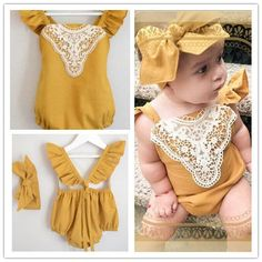 Baby Girl Toddler Mustard Lace Vintage Romper Headband Onesie Outfit Set…