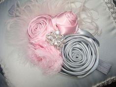 Baby Flower Headband,  Headband, Fabric Headband, Rosette Headband, Photo Prop/ Pink and Gray Rolled Roette Headband. $19.95, via Etsy.