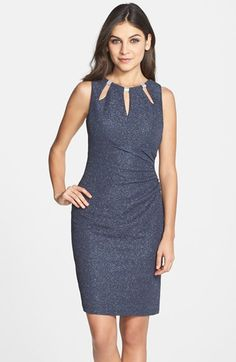 Free shipping and returns on Eliza J Embellished Knit Sheath Dress at Nordstrom.com. Edgy splices and metallic hardware modernize the jewel neckline of this glittering sheath that's slightly ruched toward one side.