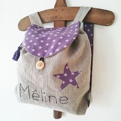 Petit sac à dos enfant en lin et coton étoilé violet /parme personnalisable