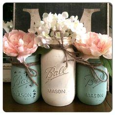 Painted Mason Jars Wedding Centerpiece by PrettySimplyStudio