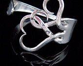 Silver Fork Bracelet in Original Intertwining Hearts Design, via Etsy
