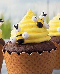 Chocolate cupcake mix and frosting come together in these decorative beehive cupcakes - perfect dessert to impress your guests.