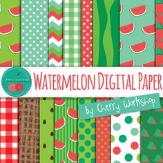 Watermelon Digital Paper - summer digital backgrounds for scrapbook, cards, invites, wedding, gift wrap, decor by CherryWorkshop2 on Etsy