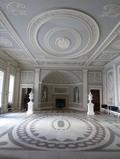 Entrance Hall of Osterley Park House, by Robert Adam -- blue/grey color scheme and neo-classical stencil inspiration