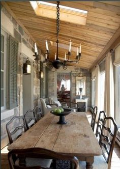 67 incredible french country kitchen design ideas – HomeSpecially – Home Decor İdeas Modern Country Kitchen Designs, French Country Kitchens, French Country Porch, Country Dinner, Tuscan Kitchens, Country Cooking, Cross Country, Sweet Home, Farmhouse Table