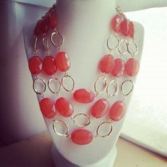 Gold and coral lucite statement necklace/ Gold by ILoveBeads247, $16.50 Lowered price!!