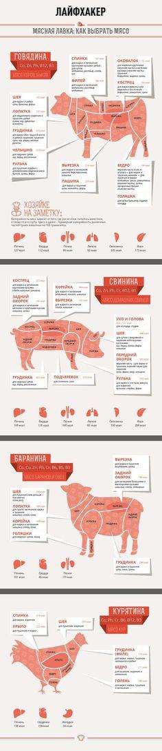 Лайфхакер подготовил полезную инфографику, которая научит вас, как выбрать мясо в зависимости от того, что вы хотите приготовить.: