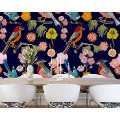 Mural Brewster Home Fashions Floral Birds Wall Bird Wallpaper, Home Wallpaper, Wallpaper Ideas, Florida Wallpaper, Peach Wallpaper, Accent Wallpaper, Wallpaper Murals, Bathroom Wallpaper, Print Wallpaper