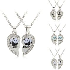 2PC Party Panda Crystal Heart Pendant Necklace Charm Jewelry BFF Best Friend