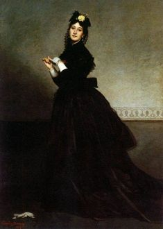 Carolus-Duran (French Academic, Classical painter, 1837–1917) The Lady with the Glove, 1869. Oil on canvas, 89.7 x 64.5 in (228 x 164 cm). Musée d'Orsay, Paris.