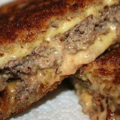 1½ pounds ground beef 2 teaspoons Worcestershire sauce 1 teaspoon kosher salt ½ teaspoon ground black pepper 12 slices sourdough bread ½ cup Secret Sauce 3 medium Vidalia onions, thinly sliced 6 slices Cheddar cheese 8 tablespoons unsalted butter Sauce ¼ cup Dijon mustard ¼ cup