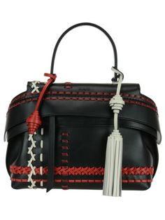 Tod's Wave Small Multicolor Whipstitched Leather Satchel In Black-multi Tods Bag, All About Fashion, Innovation Design, Leather Satchel, Smooth Leather, Dust Bag, Waves, Black, Leather Briefcase
