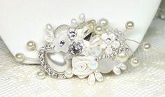 Bridal Comb- Bridal Hair Accessories- Bridal fascinator-Vintage Hair Piece-Wedding Hair Accessories-Bridal Hairpiece-Bridal comb- Ivory comb