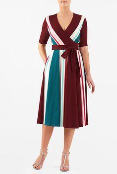 Colorblock cotton knit wrap dress #eShakti