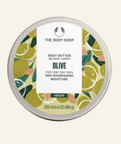 What does it do for you ? Give your skin a dose of ultra-rich hydration, when you apply our Meditteranean inspired, nourishing olive body butter. With 96hr moisturising properties, your skin will stay softer for longer. Body moisturiser 96hr hydration For very dry skin Mediterranean, fresh, delicate scent Easily absorbed Community Fair Trade organic olive oil from Italy Community Fair Trade shea and cocoa butter from Ghana 100% Recyclable Packaging VEGAN Body Shop Body Butter, The Body Shop, Raspberry Whip, British Rose, Body Spa, Whipped Body Butter, Normal Skin, Key Ingredient, Moisturiser