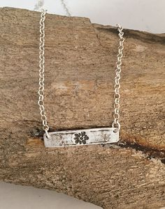 Handmade Fine Silver Flower Bar Necklace | Rustic Silver Bar Boho Necklace with Flower Design Imprint | Silver Clay Jewelry Rustic Necklace