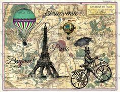 vintage french transfers | Bonjour De Paris French Vintage Map Digital Collage Sheet - craft ...