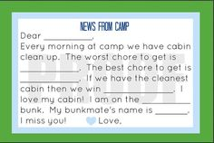 Printable Summer Camp Stationary for Kids, Guided Kids Stationary, Fill in the blank postcard.  Print as many as you want!