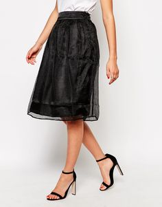 Vero Moda Below The Knee Skirt With Mesh Skirt