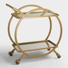 Asher 2-Tier Gold Rolling Bar Cart