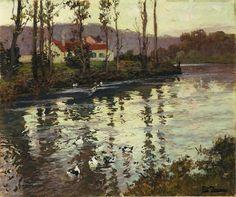 "Fritz Thaulow""Rriver Landscape with Ducks"""