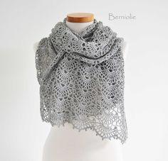 INSTANT DOWNLOAD, SILVER, Crochet shawl pattern pdf by BernioliesDesigns on Etsy