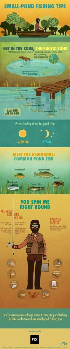 big results from even the littlest of ponds with these small-pond fishing tips!Get big results from even the littlest of ponds with these small-pond fishing tips! Bass Fishing Tips, Gone Fishing, Best Fishing, Trout Fishing, Kayak Fishing, Fishing Basics, Fishing Tricks, Fishing Stuff, Fishing Tackle