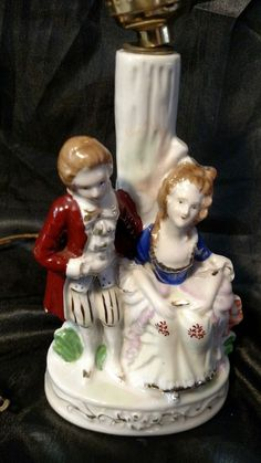 Vintage  Occupied Japan Victorian Figurine Porcelain Table Lamp.   Collectibles, Lamps, Lighting, Lamps: Electric   eBay!