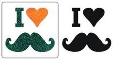 Sjabloon Glittertattoo `I love mustache`
