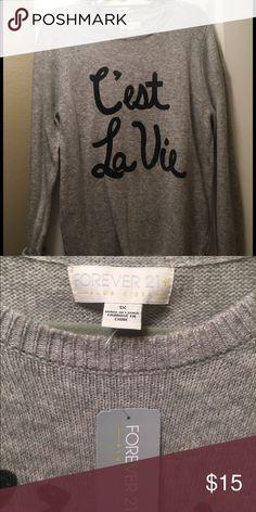 C'est la vie grey plus size sweater NWT fashionable cozy sweater Forever 21 Sweaters Crew & Scoop Necks