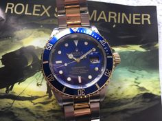 Rolex Sub and steel with box and papers Pre Owned Watches, Fine Watches, Marines, Omega Watch, Steel, Box, Accessories, Snare Drum
