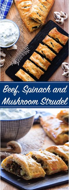 Beef, Spinach and Mushroom Strudel - An easy appetizer made with puff pastry that everyone will love - this savoury strudel is filled with ground beef, mushrooms, spinach and feta cheese and served with tzatziki dip. Strudel Recipes, Puff Pastry Recipes, Puff Pastries, Bread Recipes, Beef Appetizers, Appetizer Recipes, Mushroom Appetizers, Dinner Recipes, Beef Dishes