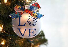 LOVE Autism awareness ornament