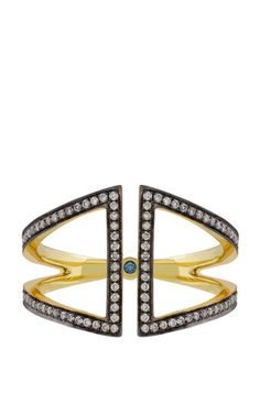 Open rhombus ring in yellow blackened gold and white diamonds by NOOR FARES Preorder Now on Moda Operandi