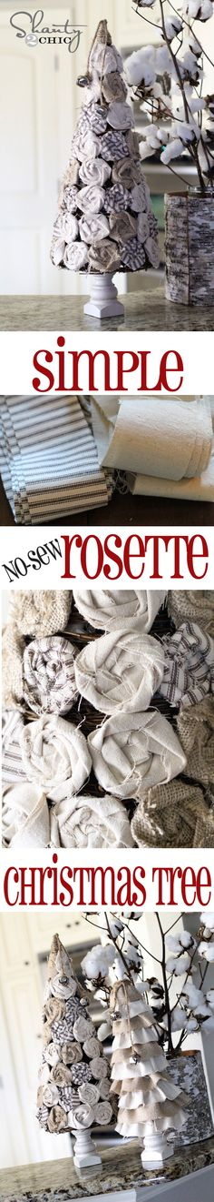 EASY No-Sew Rosette #Christmas Trees from Shanty-2-Chic.com // All you need is a hot glue gun!