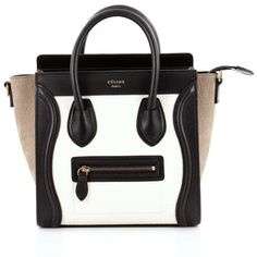 Pre-Owned Celine Tricolor Luggage Handbag Leather Nano ($1,800) ❤ liked on Polyvore featuring bags, white, zip top bag, leather handle bag, handle bag, pre owned bags and leather bags