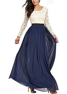 ef98e525a625 Ssyiz Womens Long Sleeve Lace Floral Chiffon Party Dress Evening Gown ( Can  be customized )