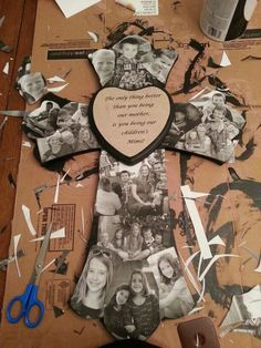 This is a modge podge cross I made for my mom for Mother's Day. It was fairly easy, but took some time to make.: