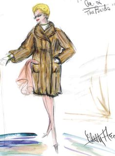 Edith Head sketch for Tippi Hedren in Alfred Hitchcock's The Birds (1963)
