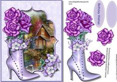 Beautiful lilac boot and roses  on Craftsuprint - Add To Basket!