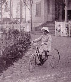 Young Selassie riding a bicycle
