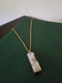 Gold Dipped Gray Crystal Necklace, Gold Necklace, Crystal Necklace, Gray Necklace, Long Necklace