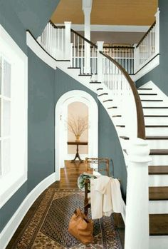 I want a house that has a staircase like this! The Top 100 Benjamin Moore Paint Colors - site has beautiful rooms shots, organized by color, with the name of the color under each photo. Style At Home, Home Design, Interior Design, Design Ideas, Design Inspiration, Interior Ideas, Modern Interior, Modern Furniture, Benjamin Moore Paint