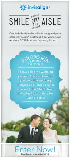 Getting married? Here's something to SMILE About: One lucky bride (or groom) will enjoy straighter teeth and a new smile for their wedding, compliments of Invisalign in our Smile Down the Aisle Sweepstakes.  Four runners up will also win a $250 American Express Gift Card. Enter here: http://shout.lt/jq74. OR enter here from a mobile device: http://shout.lt/jq75