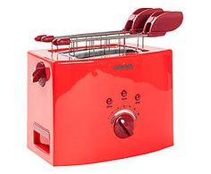 Tostapane in acciaio con pinze rosso - 30x25x20 cm